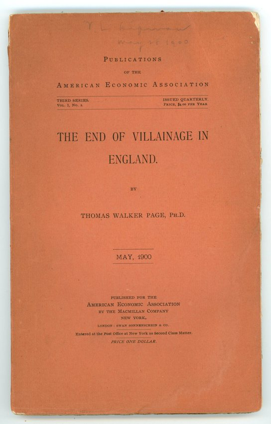 Image for The End of Villainage in England (Publications of the American Economic Association, Third Series, Volume I, No. 2, May 1900)