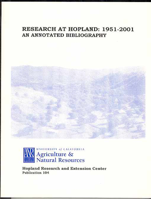 Image for RESEARCH AT HOPLAND: 1951 - 2001 An Annotated Bibliography