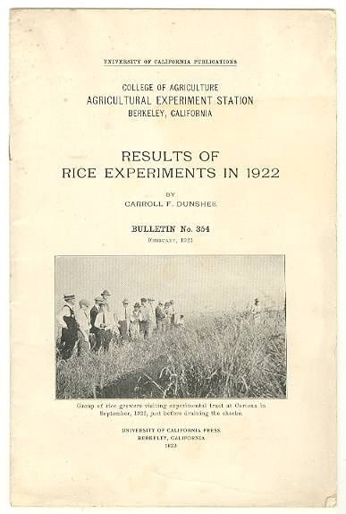 Image for Results of Rice Experiments in 1922, Bulletin No. 354