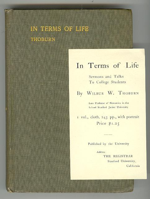 Image for IN TERMS OF LIFE: Sermons and Talks to College Students