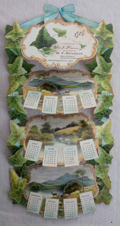 Image for Die Cut Calendar for 1906, Compliments of Will F. Peterson, Jr. representin g W. F. Peterson Wholesale Confectioners, Sacramento, Cal.